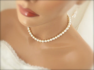 Swarovski Ivory Pearl Necklace and Earring Set Wedding Jewelry - Clairesbridal - 4
