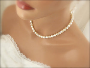 Swarovski Ivory Pearl Necklace and Earring Set Wedding Jewelry - Clairesbridal - 5