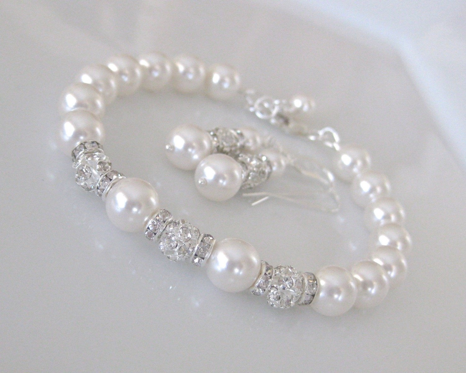 Bridal Jewelry Wedding Pearl Bracelet and Earring Set - Clairesbridal - 3