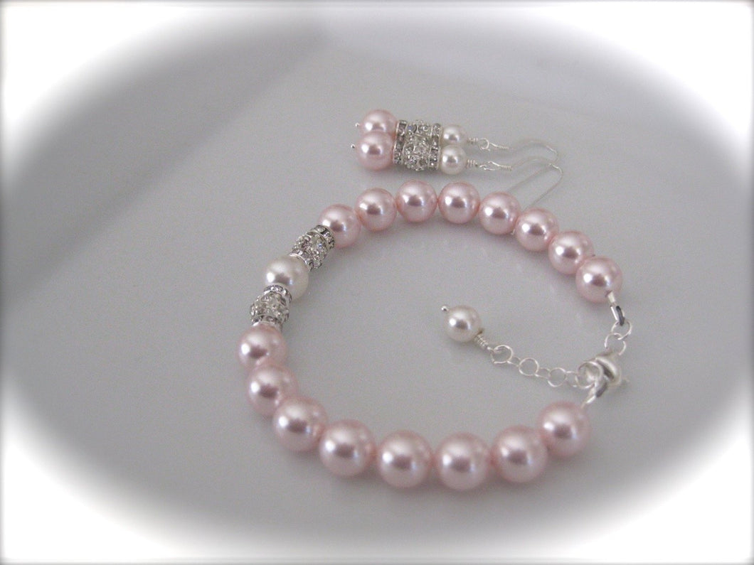Pink pearl bracelet and earrings sets for bridesmaids - Clairesbridal - 1