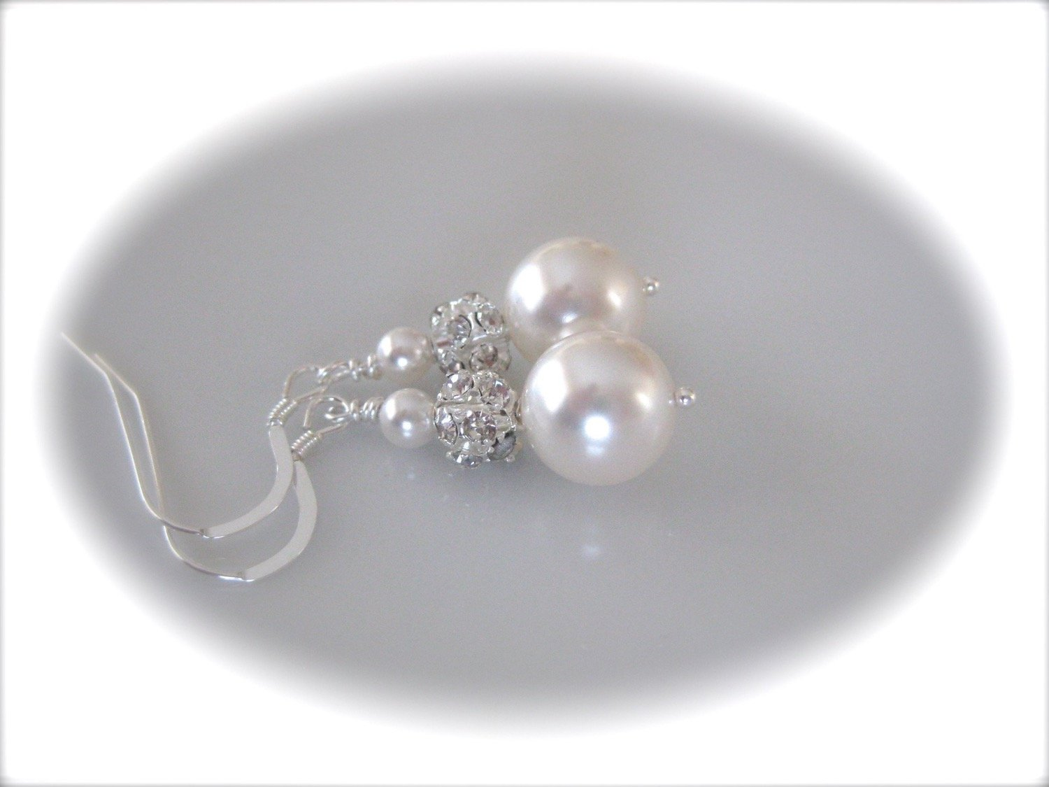 Pearl and Crystal Rhinestone Earrings Wedding Jewelry - Clairesbridal - 2