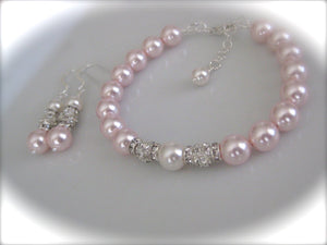 Pink pearl bracelet and earrings sets for bridesmaids - Clairesbridal - 2