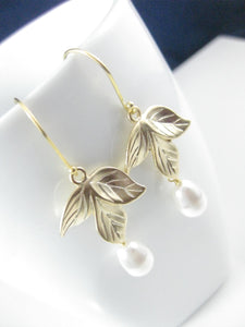 White And Gold Orchid Earrings - Clairesbridal - 2