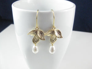 White And Gold Orchid Earrings - Clairesbridal - 3