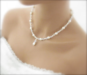 White Pearl and crystal bridal jewelry necklace - Clairesbridal - 2