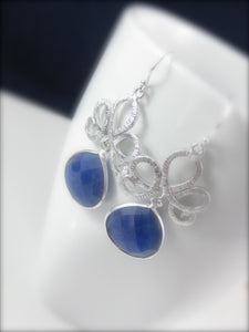 Silver and Blue Sapphire Gemstone Earrings Bridal Jewelry - Clairesbridal - 1