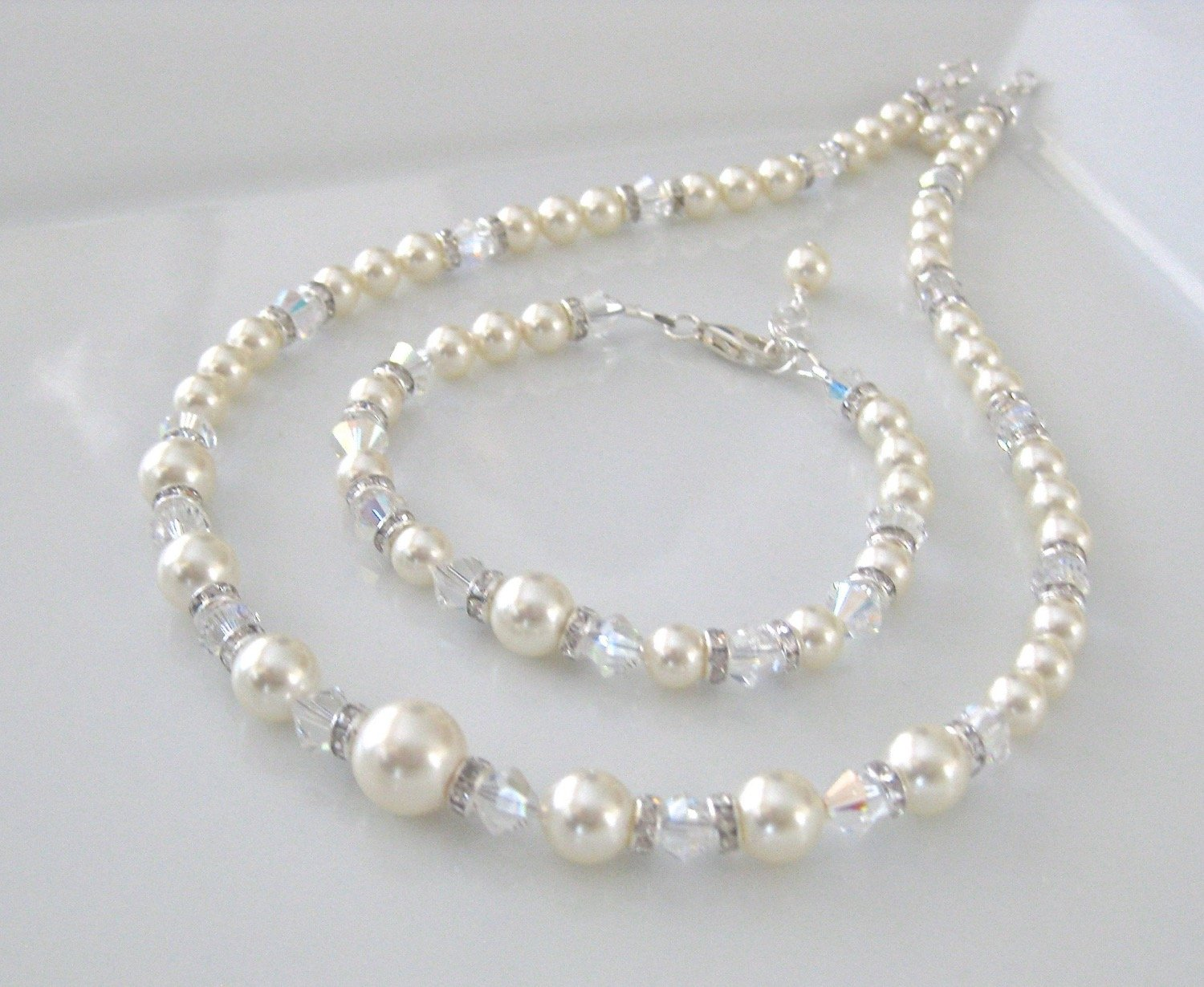Pearl Jewelry Set Bridal Necklace, Bracelet and Earrings - Clairesbridal - 2