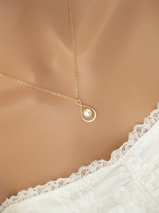 Gold Infinity Necklace with Pearl - Clairesbridal - 2