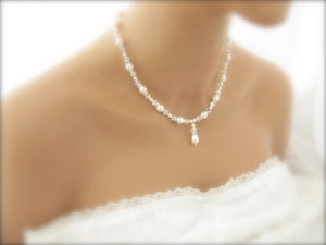 White Pearl and crystal bridal jewelry necklace - Clairesbridal - 4