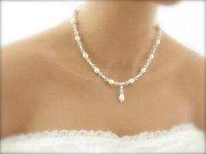White Pearl and crystal bridal jewelry necklace - Clairesbridal - 5