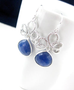 Silver and Blue Sapphire Gemstone Earrings Bridal Jewelry - Clairesbridal - 3