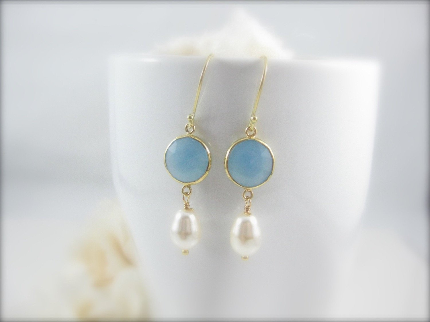 Blue Chalcedony Gemstone and Pearl Earrings - Clairesbridal - 1