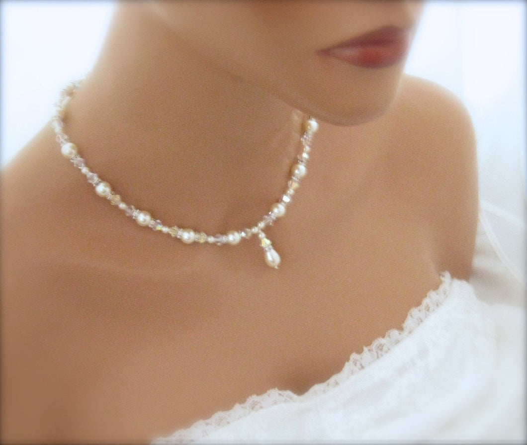 White Pearl and crystal bridal jewelry necklace - Clairesbridal - 1