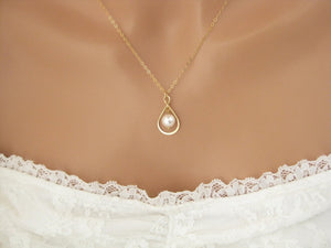 Gold Infinity Necklace with Pearl - Clairesbridal - 5