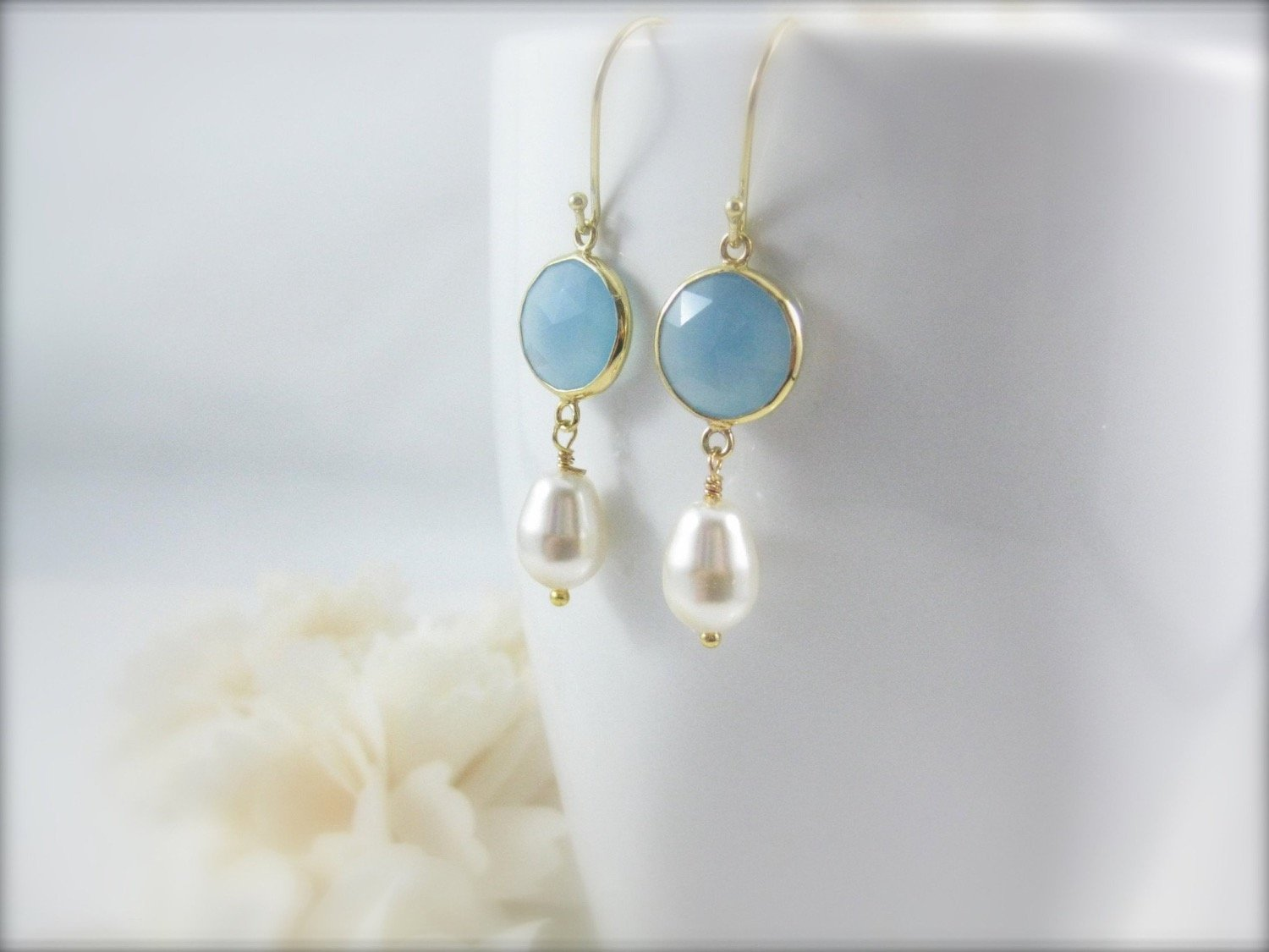 Blue Chalcedony Gemstone and Pearl Earrings - Clairesbridal - 3
