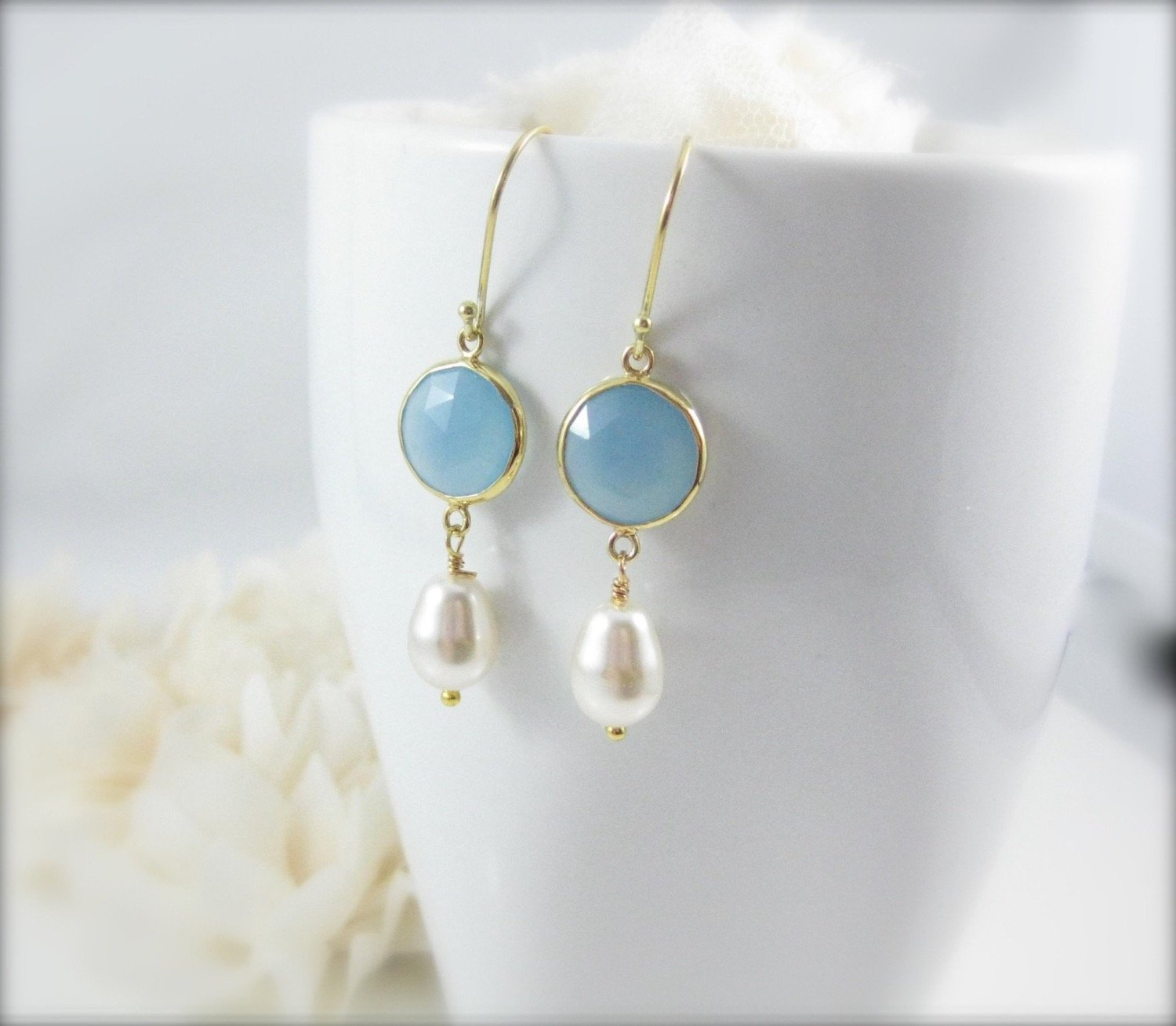 Blue Chalcedony Gemstone and Pearl Earrings - Clairesbridal - 5
