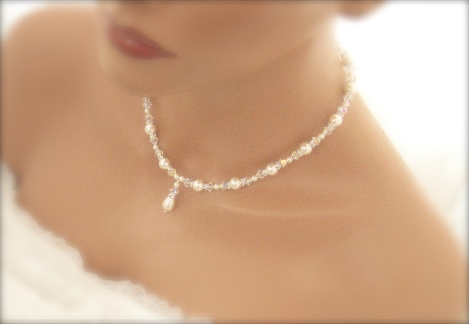 White Pearl and crystal bridal jewelry necklace - Clairesbridal - 3