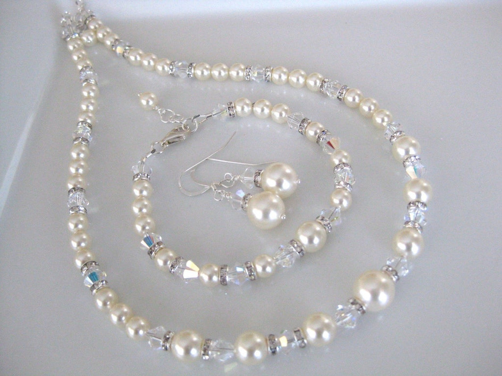 Pearl Jewelry Set Bridal Necklace, Bracelet and Earrings - Clairesbridal - 1
