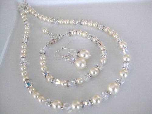 Pearl Jewelry Set Bridal Necklace, Earring and Bracelet Sets - Clairesbridal - 1