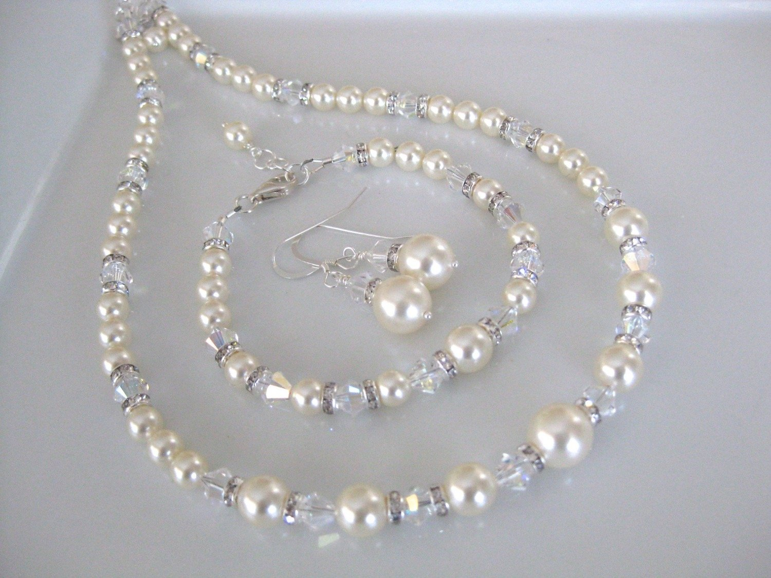 Pearl Jewelry Set Bridal Necklace, Bracelet and Earrings - Clairesbridal - 3