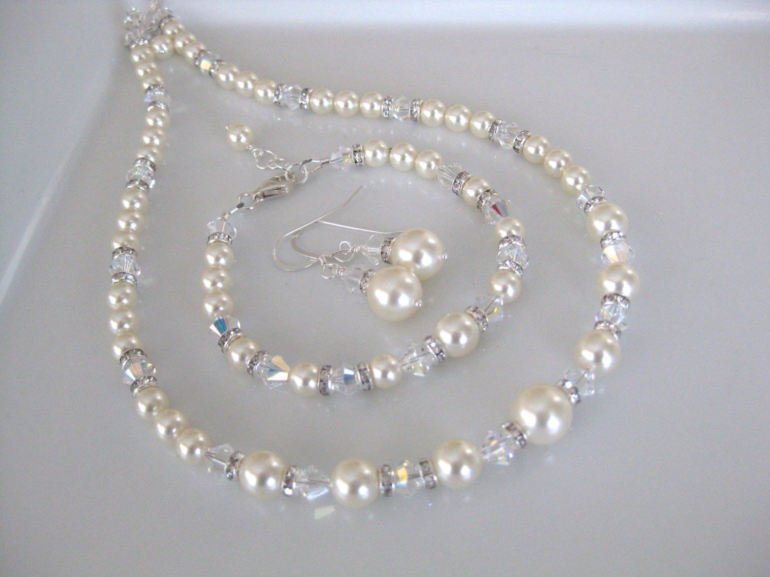 Pearl Jewelry Set Bridal Necklace, Bracelet and Earrings - Clairesbridal - 4