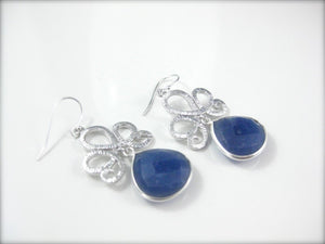 Silver and Blue Sapphire Gemstone Earrings Bridal Jewelry - Clairesbridal - 4