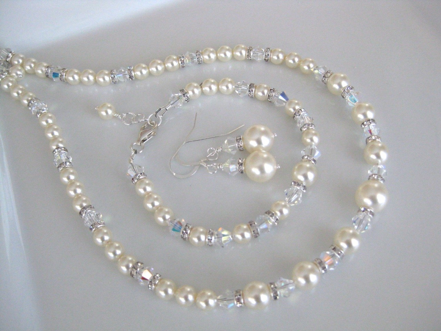 Pearl Jewelry Set Bridal Necklace, Bracelet and Earrings - Clairesbridal - 5