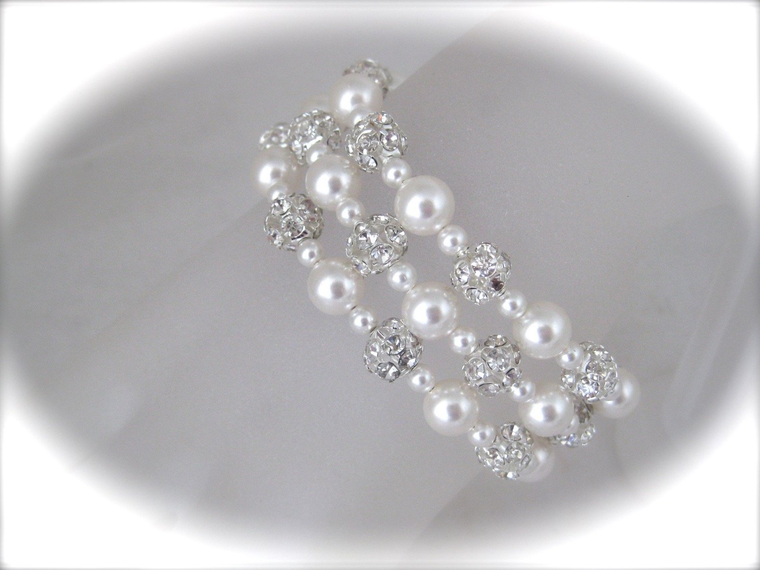 Three strand pearl bracelet wedding jewelry with pearls and crystals - Clairesbridal - 3