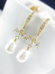 White and gold wedding earrings for brides - Clairesbridal - 5