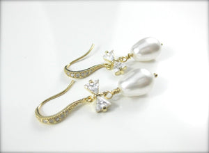 White and gold wedding earrings for brides - Clairesbridal - 4