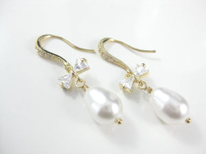 White and gold wedding earrings for brides - Clairesbridal - 1