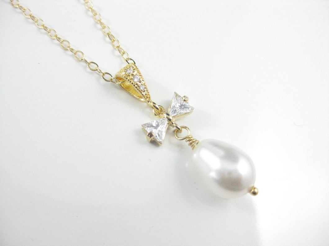 Pearl and Gold Bridal Jewelry Necklace - Clairesbridal - 1