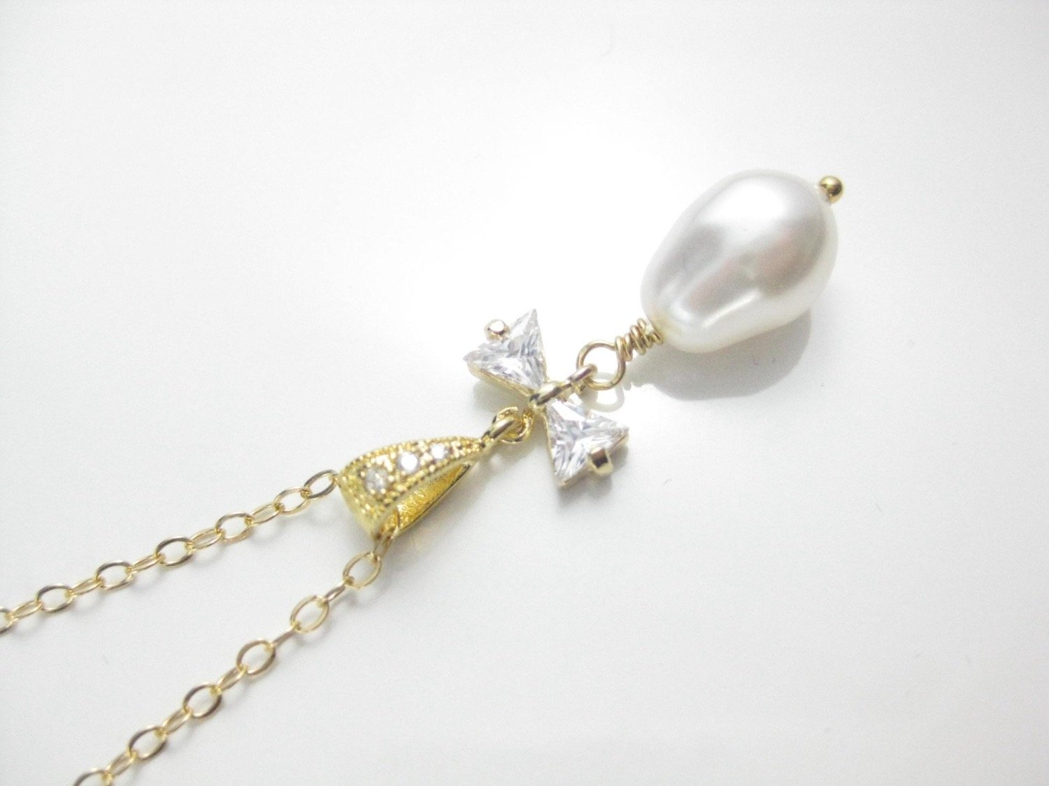 Bridal Jewelry White Pearl and Gold Necklace with Pearl Pendant - Clairesbridal - 2
