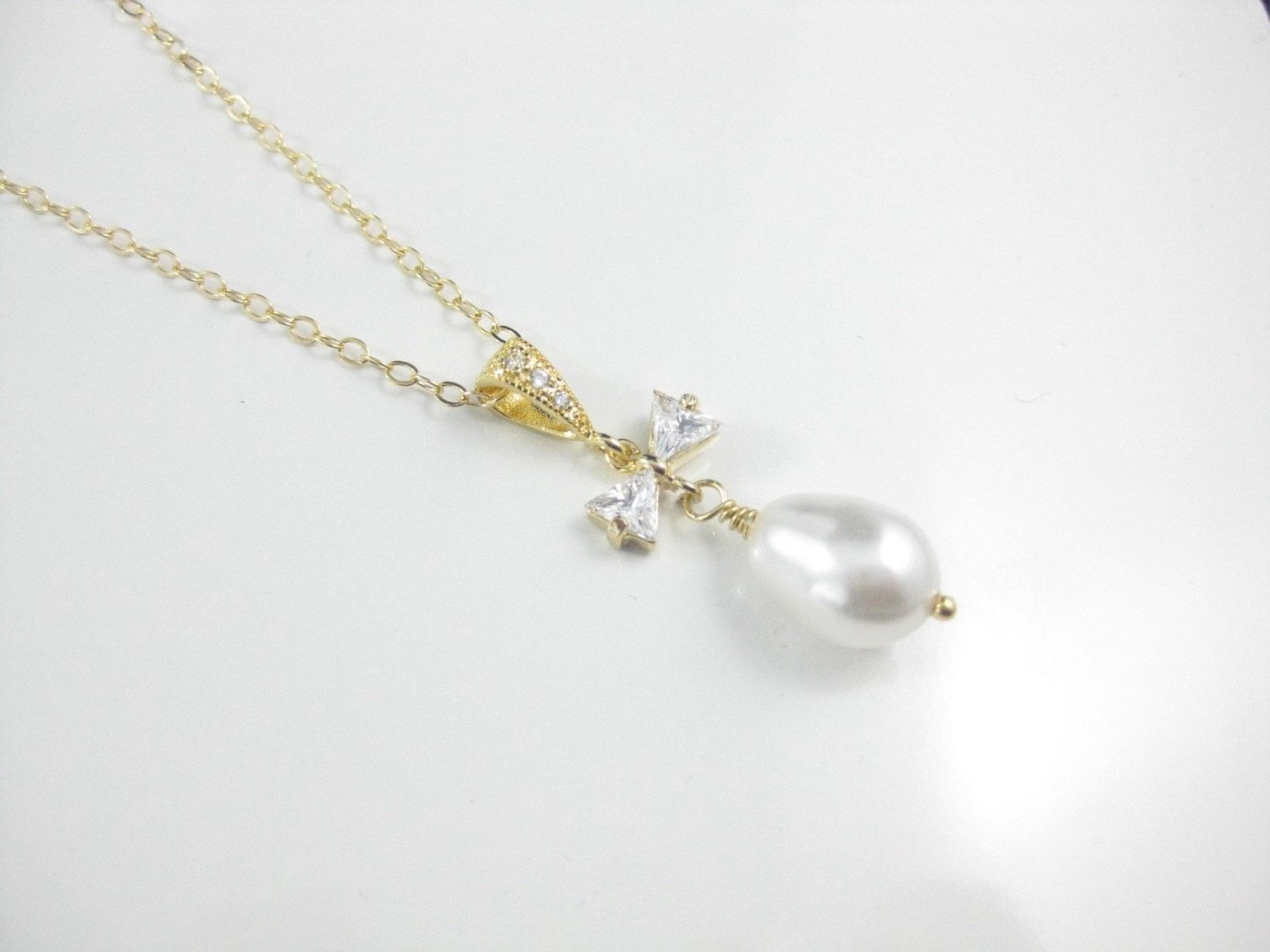 Bridal Jewelry White Pearl and Gold Necklace with Pearl Pendant - Clairesbridal - 3