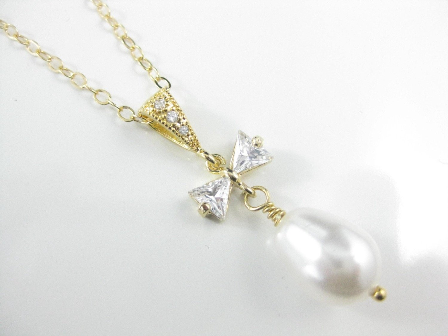 Bridal Jewelry White Pearl and Gold Necklace with Pearl Pendant - Clairesbridal - 4