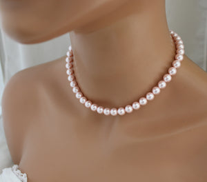 Pink Bridesmaid Necklace and Earring Set - Clairesbridal - 2