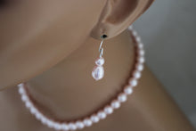 Load image into Gallery viewer, pink pearl drop earrings - clairesbridal - 2