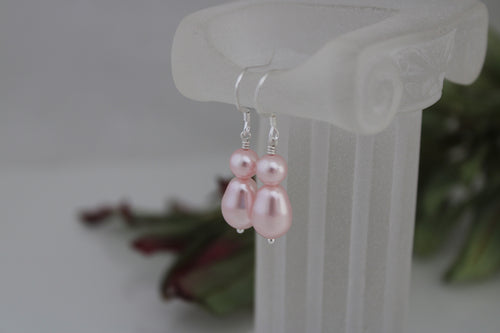 pink pearl drop earrings - clairesbridal - 1