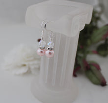 Load image into Gallery viewer, pink pearl and crystal earrings