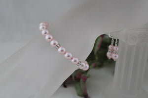 Pink Bridesmaid Jewelry Bracelet and Earrings - Clairesbridal - 3
