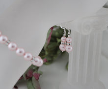 Load image into Gallery viewer, Pink Bridesmaid Jewelry Bracelet and Earrings - Clairesbridal - 4