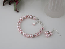 Load image into Gallery viewer, Pink Bridesmaid Jewelry Bracelet and Earrings - Clairesbridal - 5
