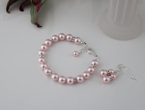 Pink Bridesmaid Jewelry Bracelet and Earrings - Clairesbridal - 5