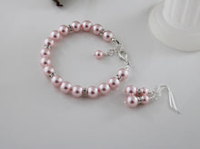 Load image into Gallery viewer, Pink Bridesmaid Jewelry Bracelet and Earrings - Clairesbridal - 6