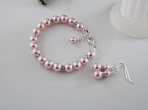 Pink Bridesmaid Jewelry Bracelet and Earrings - Clairesbridal - 6