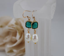 Load image into Gallery viewer, Emerald Green Pearl Earrings