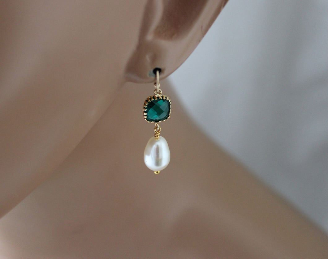 Emerald Green Pearl Earrings