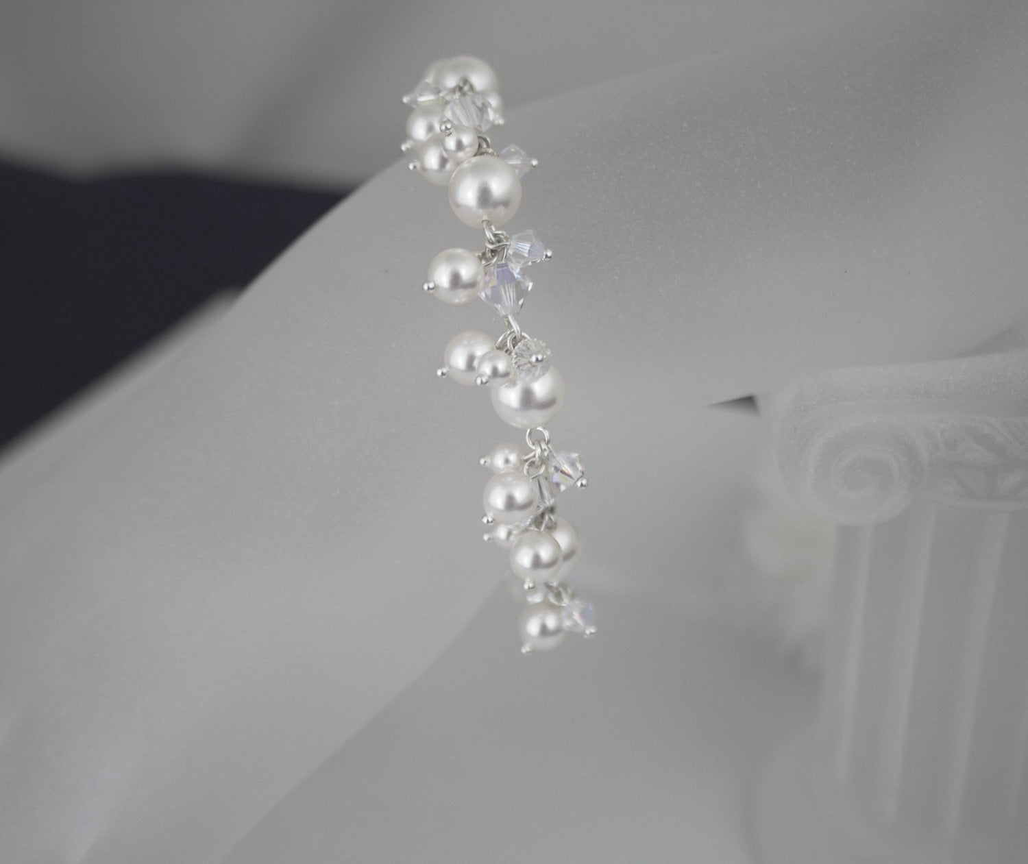 Wedding Jewelry Pearl Cluster Bracelet - Clairesbridal - 3