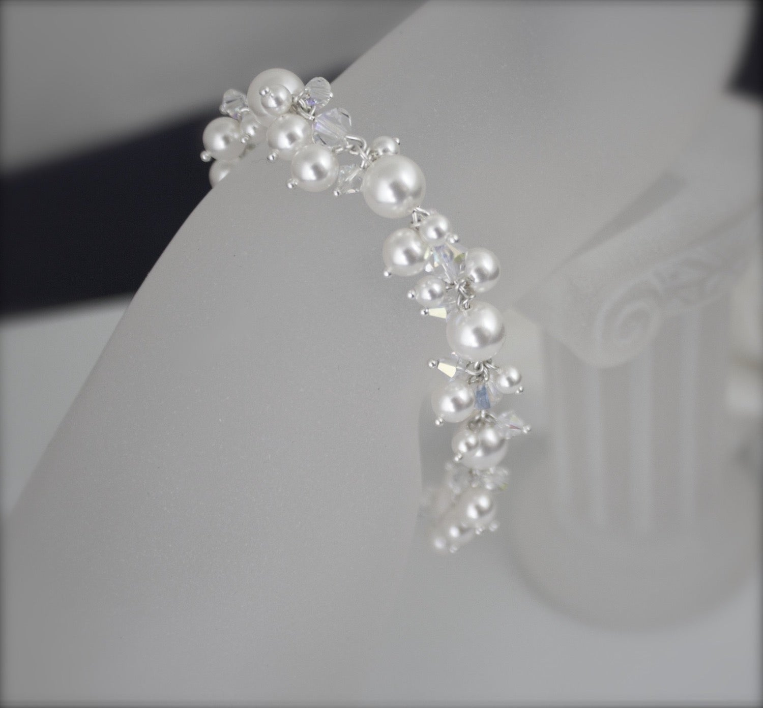 Wedding Jewelry Pearl Cluster Bracelet - Clairesbridal - 1
