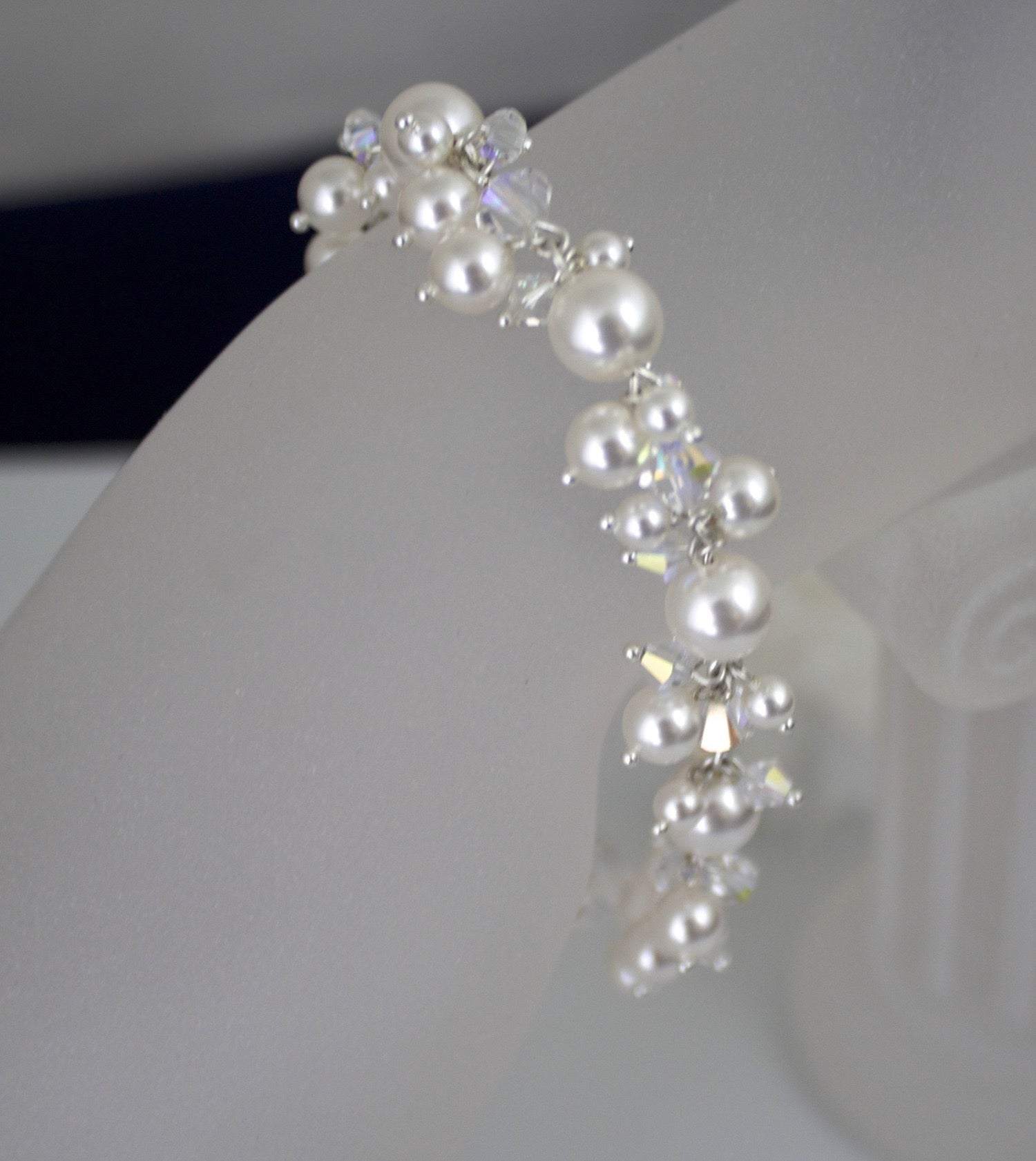 Wedding Jewelry Pearl Cluster Bracelet - Clairesbridal - 5